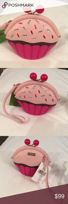 Kate Spade Cupcake Wristlet Kate Spade Cupcake Wristlet new with tags.  Take the Cake posie. It has beautiful sprinkles that are made of gems.  It has a twist snap closure and a pink wrist strap.  The back has the gold Kate Spade emblem.  Great Holiday gift! kate spade Bags Clutches & Wristlets