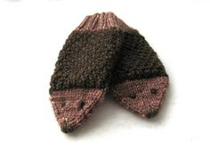 """Adorable hedgehog faces and moss stitch """"spines"""" make these mittens the cutest way to keep your loved one warm this winter!"""