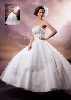 Elegant A-Line Strapless Chapel Train Wedding Dress