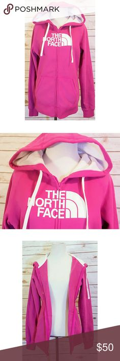 The North Face Half Dome Pink Zip Hoodie Jacket New with tags #thenorthface #hoodie #jacket  The North Face Half Dome Pink Zip Hoodie Jacket Women's Size Medium Measurements on Request Gift Quality  White Logo Front  MSRP $70 Our Price $50 Firm  Thanks We Ship Fast  Updating New Items Daily The North Face Tops Sweatshirts & Hoodies