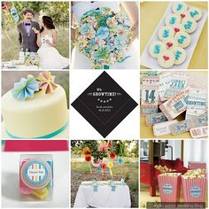 The bright colors in this retro circus  wedding theme make it ideal for spring or summer weddings.