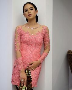 Kebaya Pink, Kebaya Lace, Kebaya Brokat, Batik Kebaya, Kebaya Dress, Batik Dress, Lace Dress, Beanie Boos, Model Kebaya Modern