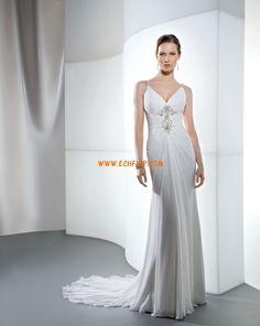 Cola Capilla Escote en V Gasa Vestidos de novias 2013