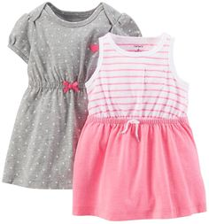 Carter s Girls 2 Pack Sundresses with Pink Striped Solid Knit Dress with  Panty and Grey Polka Dot Knit Dress - Carters - Babies