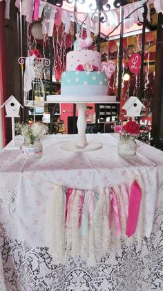 Shabby Chic Baptism Party! See more party ideas at CatchMyParty.com!