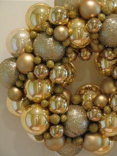 Shimmering Gold Christmas Wreath, Holiday Wreath, Gold Wreath, Ornament Wreath, Glass Ball Wreath, Christmas Gift