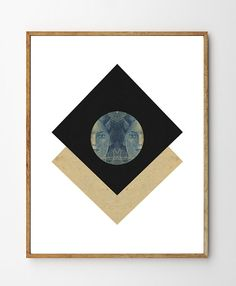 Miroir - Art Deco, Geometric Art Print, Minimalist Poster, Surreal Art, Portrait Art, Mixed Media Collage, Wall Art