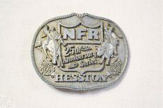 Vintage NFR Hesston Belt Buckle 1983 Western Rodeo Finals 25th | Etsy Wood Storage Box, 25th Anniversary, Rodeo, Vintage Pink, Belt Buckles, Finals, Westerns, Advertising, Handmade