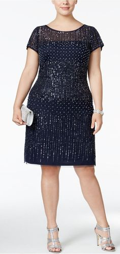 Plus Size Beaded Cocktail Dress