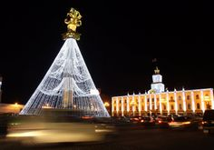 A statue of St. George decorated like a Christmas tree in Tbilisi, Georgia.