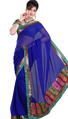 Shop online Fashionable Latest Royal Blue Faux #ChiffonDesignerSaree Product code: KDS-39583 Price: INR 1281(Unstitch Blouse), Color: Royal Blue   Shop Online now: http://www.efello.co/Saree_Fashionable-Latest-Royal-Blue-Faux-Chiffon-Designer-Saree,-Sari_37999