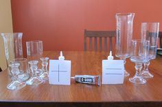 glass vases made from Dollar Tree items