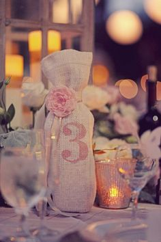 Custom Burlap Wine bag table number with Flower and Ribbon