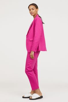 Костюмные брюки, смесовый лен - Фуксия - Женщины | H&M RU
