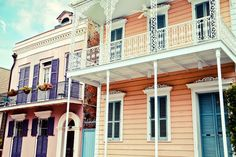 "#NewOrleans Photograph, ""French Quarter houses"" Travel Photography, urban, Colorful Pastel Houses, architecture, #NOLA #travel #pastel"