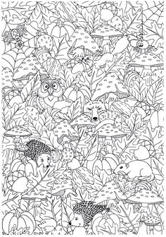 Cute Coloring Pages, Printable Coloring Pages, Coloring Sheets, Coloring Books, Free Adult Coloring, Autumn Crafts, Mandala Drawing, Dot Painting, Drawings