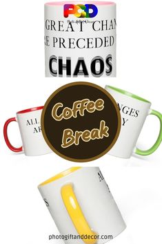 These funny and colorful mugs are great gifts for anyone that could use a caffeine boost and a smile. Coffee, tea or any flavored drink, hot or cold. Luxury Home Accessories, Friend Birthday, Birthday Gifts, Small Apartment Decorating, Cozy Apartment, Coffee Break, Coffee Time, Cool Wall Decor, Decorating Tips