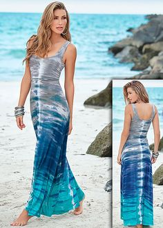 As blue as the sea...They will be dying over this maxi! Venus tie dye maxi dress.