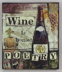 """Canvas Wine Wall Art reads """"Wine is bottled poetry"""" and features wine bottle design. Gifts For Wine Drinkers, Wine Gifts, Wine Bottle Design, Wine Wall Art, Funny Thoughts, Housewarming Party, Deco, House Warming, Poetry"""