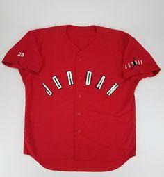 f60b4b85516423 Rare 90s Vintage Michael Jordan Nike Air Baseball Jersey Red Mens Sz L  button up
