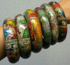 Decoupage bangles...from the funnies! Great gift idea!