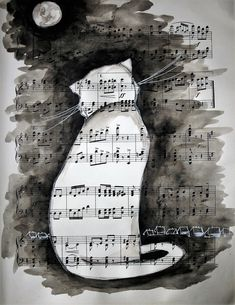 Book Page Art, Book Art, Sheet Music Art, Collage Techniques, Dragonfly Art, Cat Drawing, Cat Art, Art Pictures, Collage Art