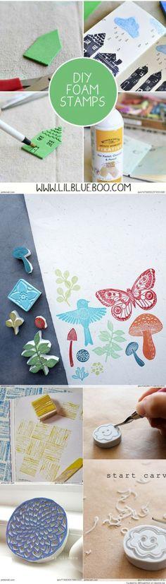 DIY Make your own foam Stamps & Patterns   Como hacer sellos con foam. Esta lindos para cualquir proyecto de manualidades