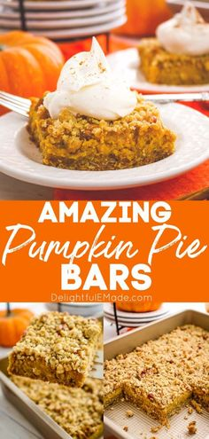Even easier than pie, these Pumpkin Pie Bars with Pecan Crumble are the perfect fall dessert! Made with a simple oatmeal brown sugar crust, and topped with an amazing pecan crumble, these Pumpkin Crumble Bars will be even more popular than the classic pie! || Delightful E Made