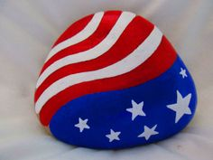 American Flag Painted Rock by PlaceForYou on Etsy