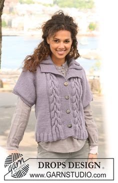 "Knitted DROPS jacket with short sleeves and cables in ""Nepal"". Size S - XXXL. ~ DROPS Design"