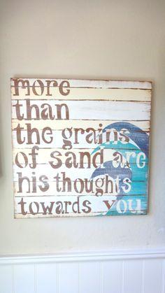 Surfer  Bedroom Nautical  Prayer Sign PSALM 139 17. $90.00, via Etsy.