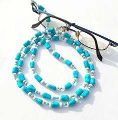 Turquoise glasses chain, coral bead necklace, beaded eyeglass chain, eyewear lanyard, blue glasses cord, long spectacle holder, glasses cord
