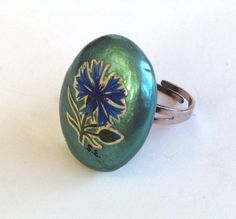 Unique design turquoise natural stone ring by mammamiaeme on Etsy, $16.00