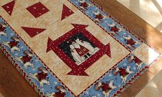 Quilted Christmas Table Runner  Santa Polar by RedNeedleQuilts, $60.00