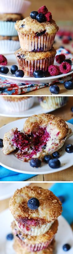 Made with Greek yogurt and 3 types of berries (blueberries, blackberries, and raspberries) these muffins are very moist and very much cupcake-like in their texture, and yet they are so refreshing (thanks to all the berries) and very light (only 1/3 cup of vegetable oil used + 2/3 cup of Greek Yogurt).