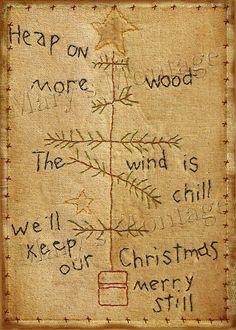 Grungy Christmas Stitchery Art    You Print 5x7 by MarysMontage,