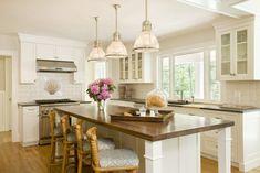 Lou Lou's Decor - kitchens - Restoration Hardware Keynes Prism Single Pendant, L-shaped kitchen, white cabinets, white backsplash tile, whit...