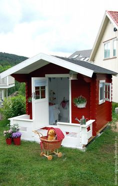 cute, cute, CUTE play house but wouldn't it make a nice garden shed? Shed Playhouse, Playhouse Outdoor, Playhouse Ideas, Simple Playhouse, Outdoor Fun, Outdoor Spaces, Outdoor Living, Cubby Houses, Play Houses