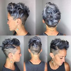 Charcoal and Silver Metallics. Wish I'd seen this do before I cut it all off! Ah, well, that's the beauty of hair.it grows ba… Cool Short Hairstyles, Pixie Hairstyles, Pixie Haircut, Short Hair Cuts, Short Hair Styles, Pixie Cuts, Short Pixie, Hair Tattoos, Shaved Hair