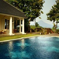 Main pool view with Merapi Mountain and Borobudur temple