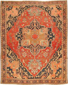Antique Heriz Serapi Persian Rugs 2570 Detail/Large View - By Nazmiyal