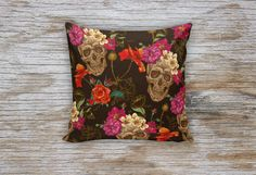 Skull and Flowers Decorative Pillows