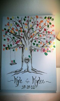 Maybe for Dylans first birthday party Thumbprint tree :) Tree Wedding, Wedding Guest Book, Auction Projects, Art Projects, Fall 1st Birthdays, Modern Wedding Inspiration, Wedding Ideas, Thumbprint Tree, Family Tree Art