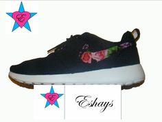 Custom Nike Roshe Run- Swoosh Only Black Red Floral Nike Roshe Runs - Women/ Men/Kids