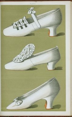Shoe with straps and bows; tiny shoe with large bow; shoe possessing one of the highest Louis heels worn off the stage.... (1900