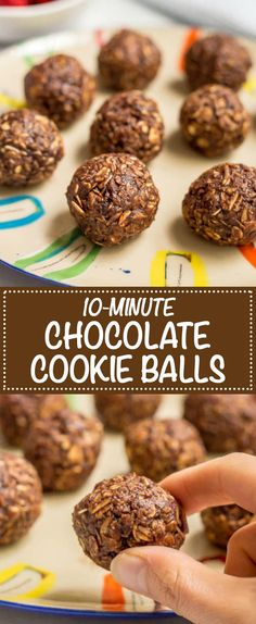 These no-bake chocolate cookie balls use just 6 wholesome ingredients for an easy, tasty snack that's also gluten-free and vegan! Easy Cookie Recipes, Snack Recipes, Dessert Recipes, Cooking Recipes, Pudding Recipes, Easy Recipes, Breakfast Recipes, Healthy Recipes, Yummy Snacks