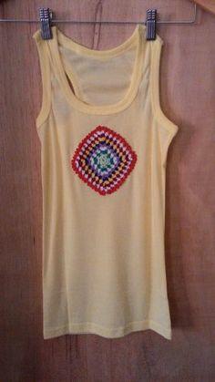 camiseta regata nadador mandala em malha canelada