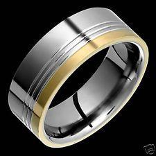 New Fashion Mens Titanium Ring 14k Yellow Gold Inlay Wedding Band 8mm Wide Band
