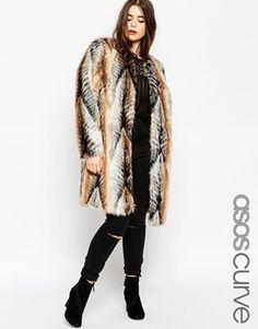 Fake fur mantel lang