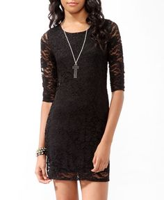 forever21  short textured lace bodycon dress featuring a round neckline and sheer 3/4 sleeves. Finished hemline. Partially lined. Knit. Lightweight.